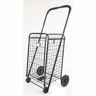 Athome Small Deluxe Rolling Utility Shopping Cart - Stowable Folding Heavy Dut