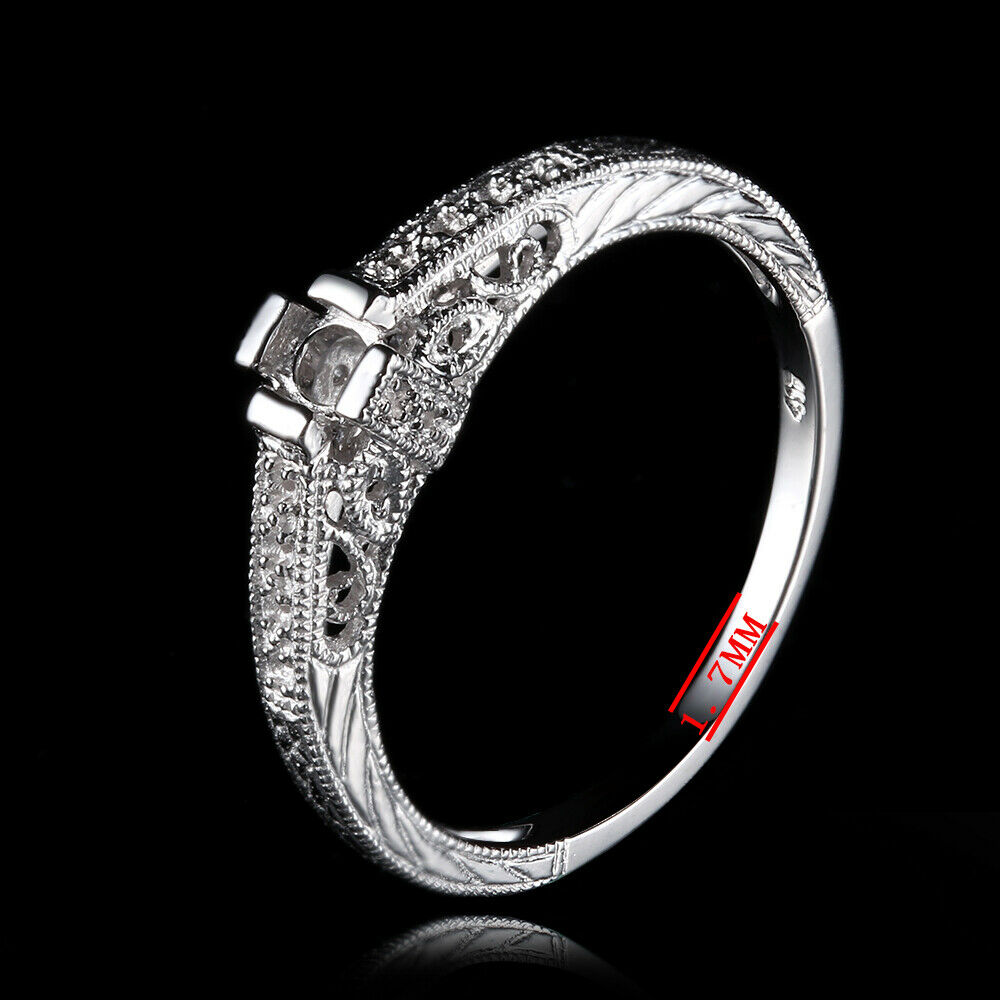 Wedding Semi Mount Engagement Ring 3 Stone 5mm /& 3.5mm Round Sterling Silver 925