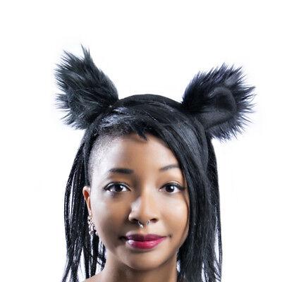 PAWSTAR Mouse Ears Headband - Furry Costume Black Round Bear lion [SHADOW]3013 - Bear Ears Costume