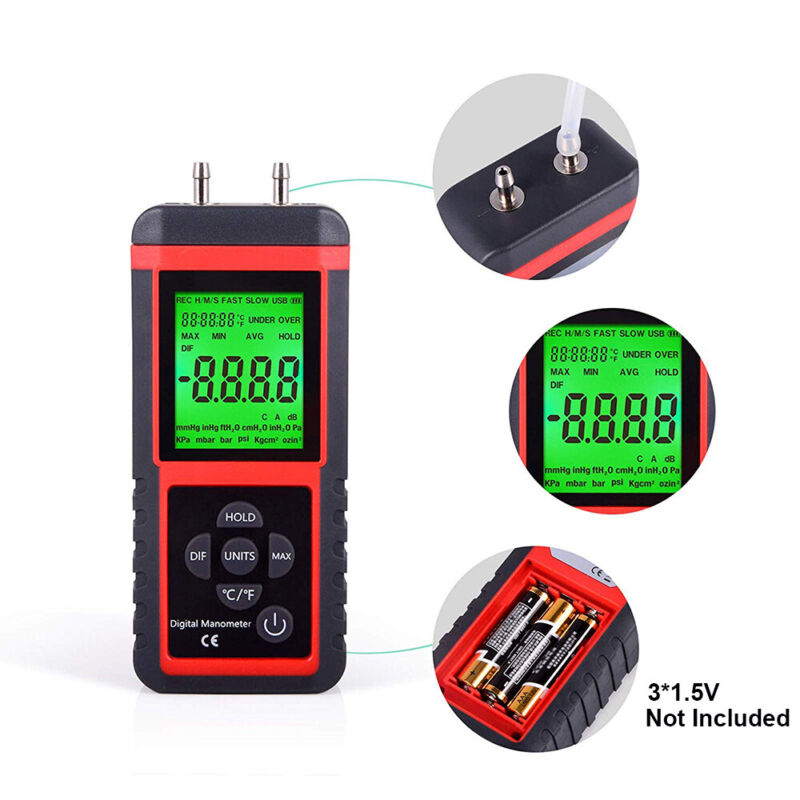 LCD Digital Manometer Air Pressure Differential Gauge Gas Measuring Tool 12 Unit