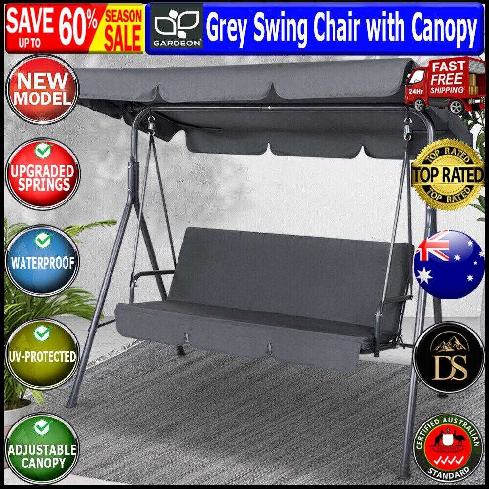 Garden Furniture - Grey Swing Chair with Canopy Outdoor Hammock Seat Garden Bench Furniture Gardeon