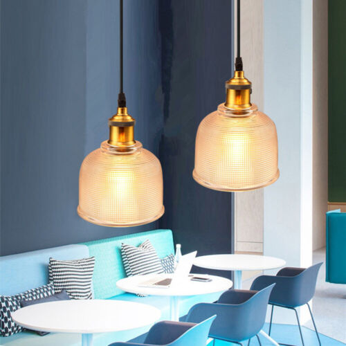 Industrial Glass Pendant Light Color Plating Ceiling Lamp Shade Hanging Fixtures 7