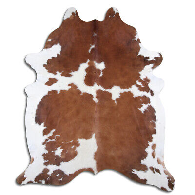 Real Cowhide Rug Brown & White Size 6 by 7 ft, Top Quality, Large Size