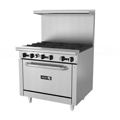 Asber Aer-6-36 36 Gas 6 Burner Restaurant Range W Standard Oven