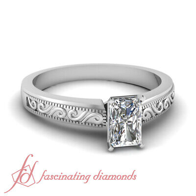 1 Ct Radiant Cut SI2-E Color Diamond Hand Engraved Solitaire Engagement Ring GIA