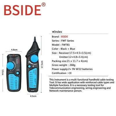 Bside Fwt81 Handheld Cable Tracker Wire Tracer Telephone Line Continuity Tester