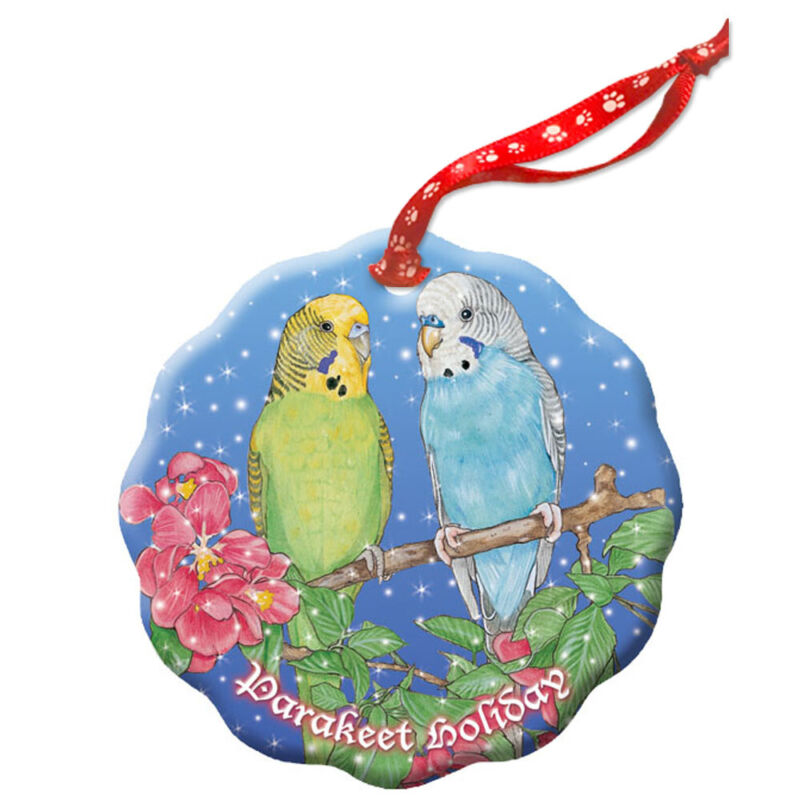 Parakeet Budgie Parrot Holiday Porcelain Christmas Tree Ornament