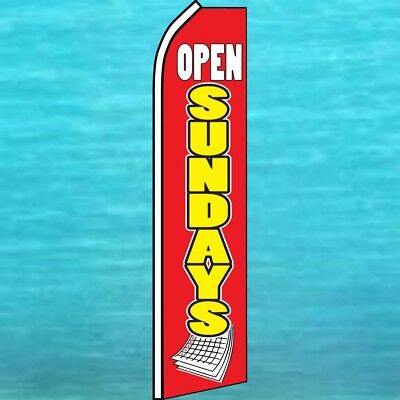 Open Sundays Flutter Flag Tall Curved Advertising Sign Feather Swooper Banner
