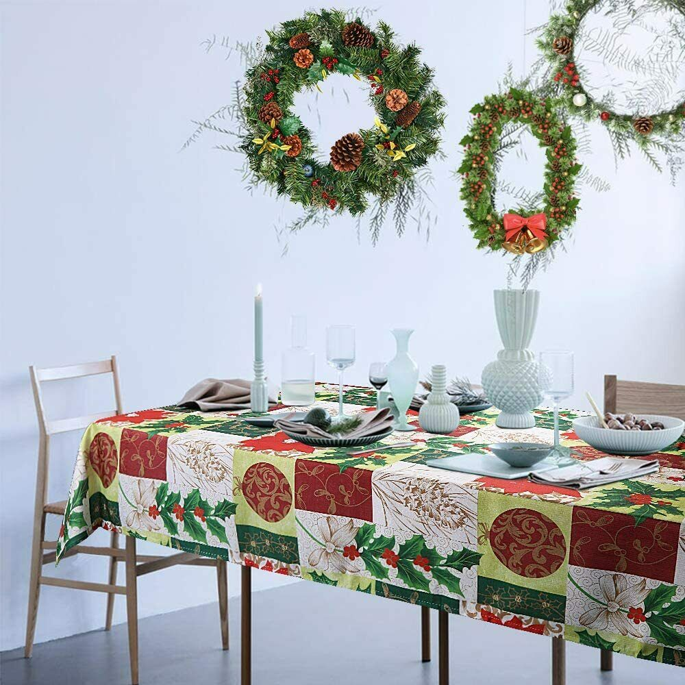 ColorBird Christmas Tablecloth with Red Ribbon for Dining Ro