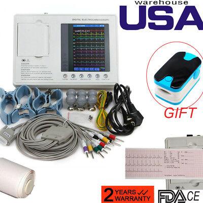 12-lead Digital 3-channel Electrocardiograph Ecgekg Machine Interpretationspo2