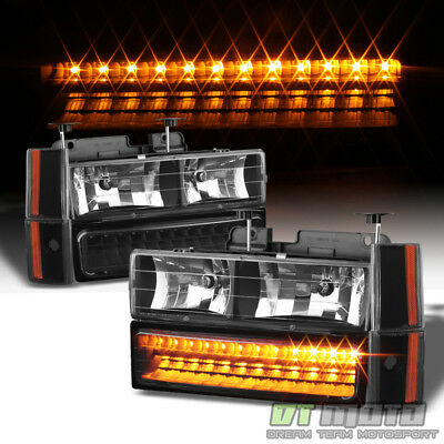- 1988-1993 Chevy Silverado Suburban GMC Sierra Headlights+Corner+LED Bumper Light