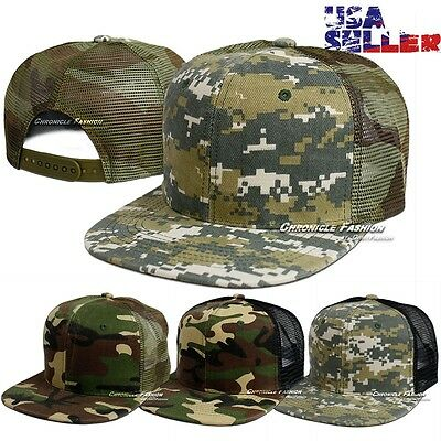(New Baseball Cap Trucker Flat Bill Army Camo Snapback Adjustable Mesh Plain Hat)