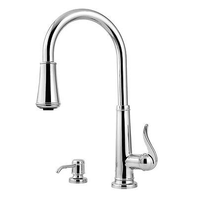 Pfister Ashfield Single-Handle Pull-Down Sprayer Kitchen Faucet in Polished Chro