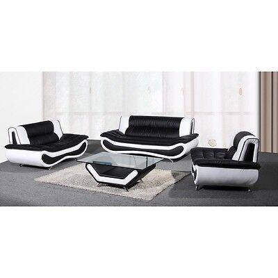Two-tone Black White Bonded Leather Sofa -