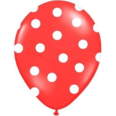 Luftballons Polka Dots rot 30 cm 50 Stück - Ballons Taufe Kindergeburtstag