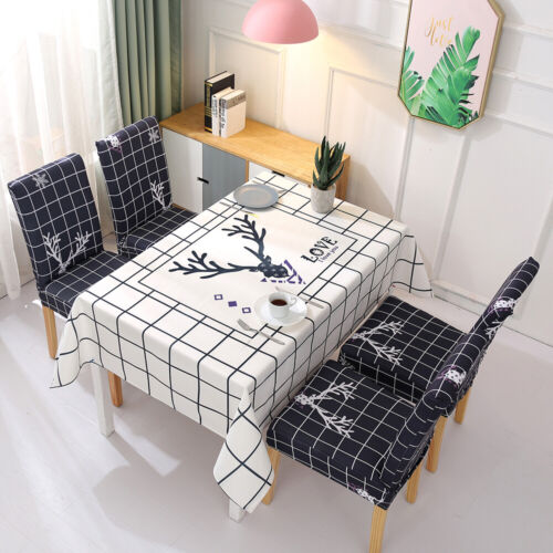 Tablecloth+Dining Chair Covers Set Pastoral Plant Stretch Ta