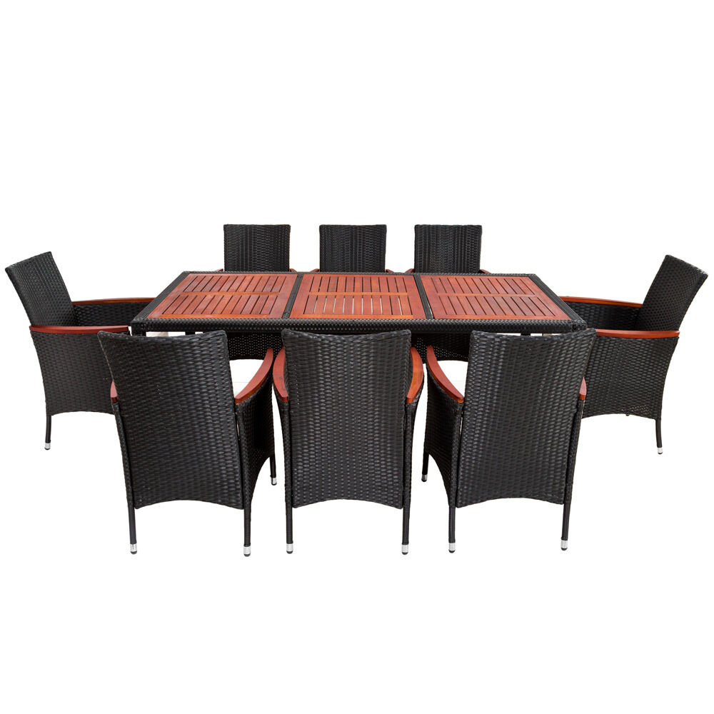 8 seater table rattan garden furniture dining chairs set wicker black brown. Black Bedroom Furniture Sets. Home Design Ideas