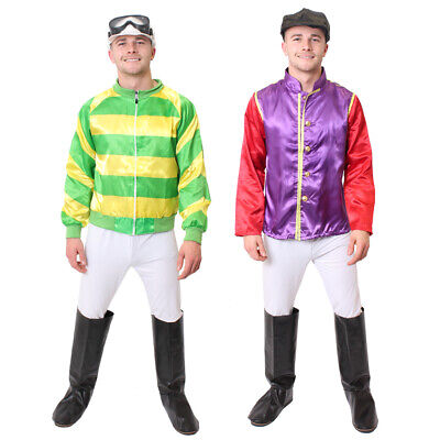 MEN'S JOCKEY COSTUME HORSE RIDER RACING FANCY DRESS GREEN YELLOW PURPLE - Horse Racing Kostüm