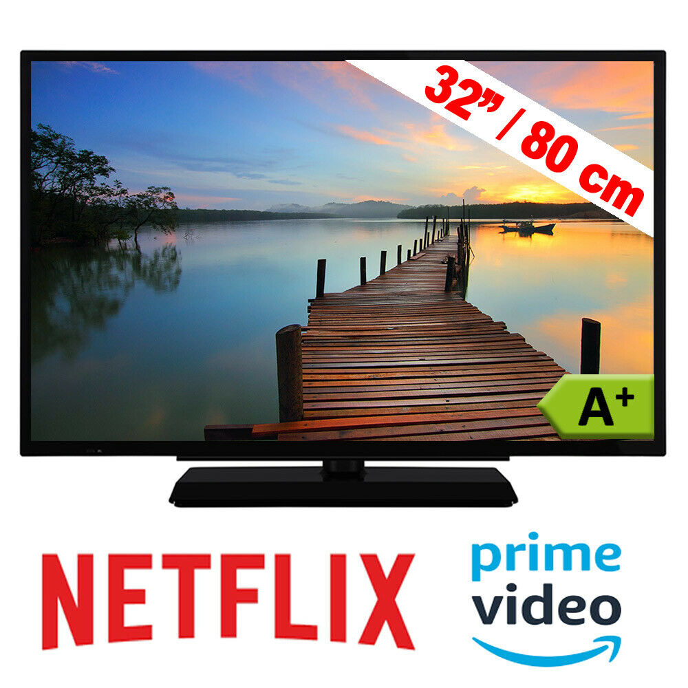 Telefunken Fernseher 32 Zoll Smart TV LED Triple Tuner HD Ready WLAN DVB 80 cm