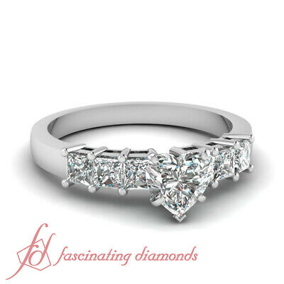 Septet Sparkle Engagement Ring 1.40 Ct Heart Shaped Ideal Cut Diamond SI2 GIA