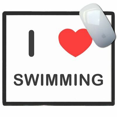 I Love Heart Swimming - Thin Pictoral Plastic Mouse Pad Mat Badgebeast