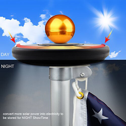 New Super Bright Snap On Led Garage Work Light 2000: Solar Flag Pole Flagpole Flagpoles Light 26LEDs Top Mount