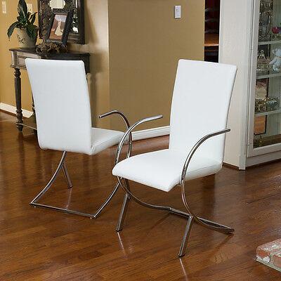 (Set of 2) Modern Design White Leather/ Chromed Steel Dining Side Chair