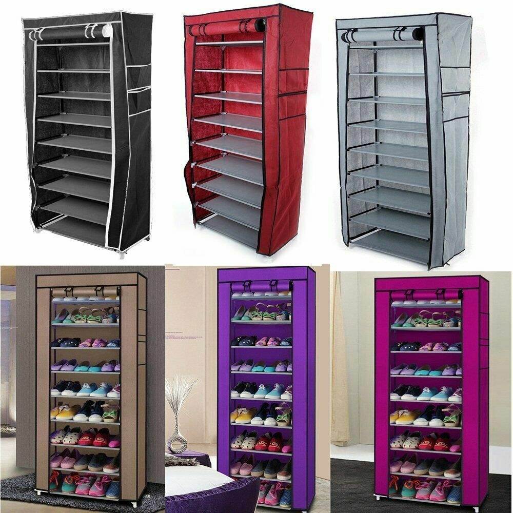 10 Tier 9 Grid Shoe Rack Cabinet 30 Pairs with Cover Wall Be