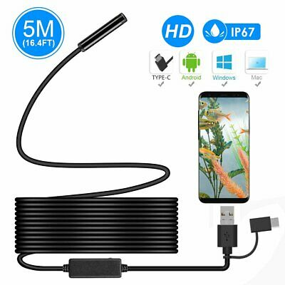 Endoscope 5M Waterproof Snake HD Video Inspection Camera (iPhone & Android)