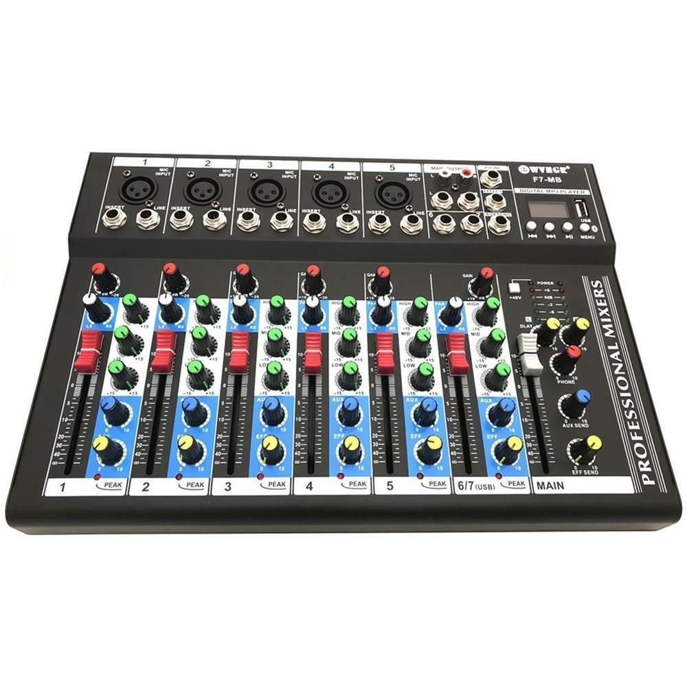 MIXER AUDIO PROFESSIONALE 7 CANALI USB CON ECHO-DELAY dj karaoke pianobar
