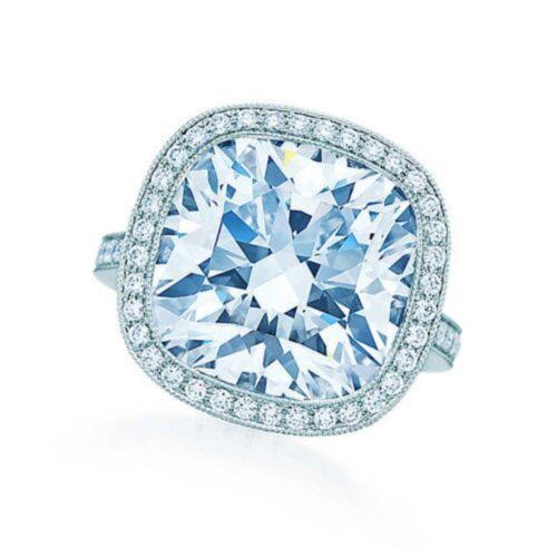 Diamond Engagement Ring GIA Certified Platinum Cushion & Round Cut 4.25 Carat