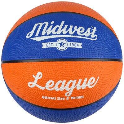 Midwest League Outdoor Recreational Rubber Basketball Ball Blue/Orange