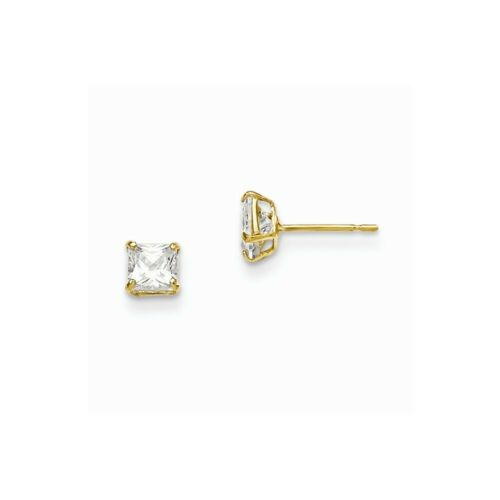 14K Madi K Yellow /& Rose Gold CZ Childrens Clover Post Earrings
