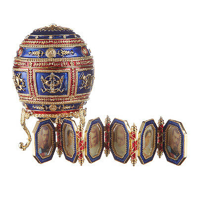 Faberge Egg / Trinket Jewel Box Heraldic with photoframes 5.1'' 13cm blue & red for sale  Shipping to Canada