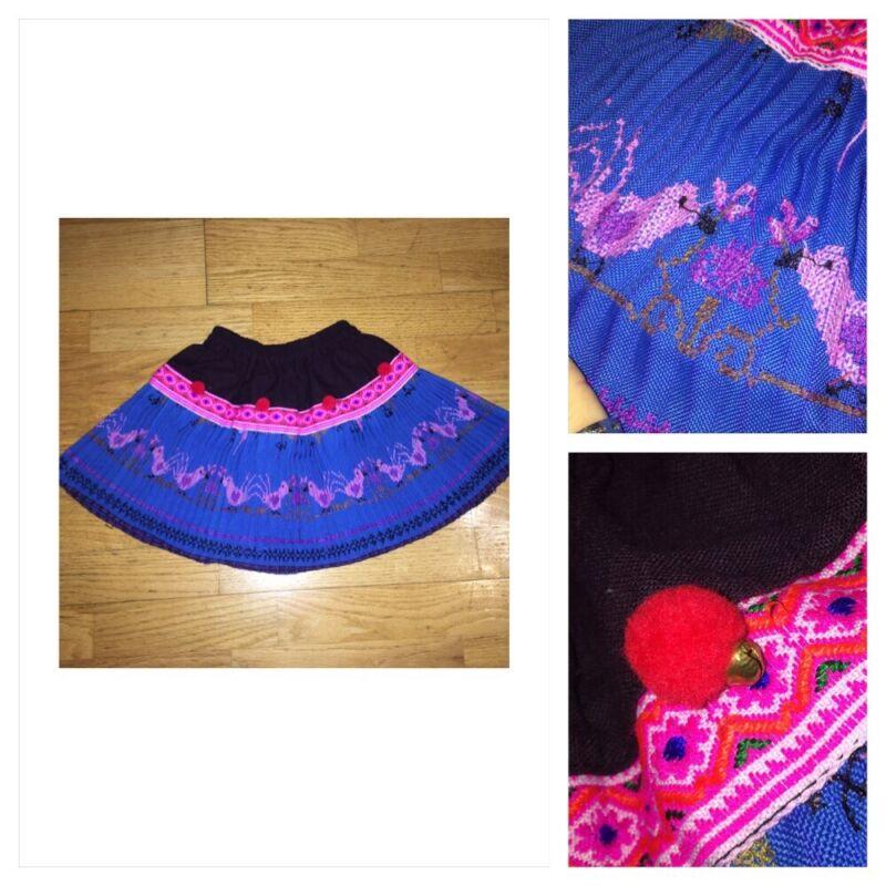 Vtg Ethnic 3T pleat skirt Mexican huipil embroider Birds Peruvian pom pom Bell