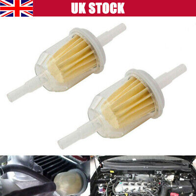 2 x Small Petrol In-Line Universal Clear Fuel Filters Fits 6 or 8mm Filter UK