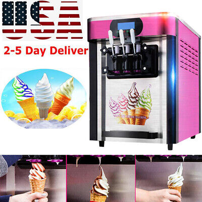 110v Automatic Commercial Desktop Soft Ice Cream Machine With 3 Flavors Device