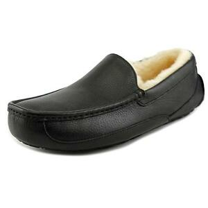 90dd9d56443 UGG Australia Ascot Mens Slippers 5379 Black Leather Loafer Outdoor ...