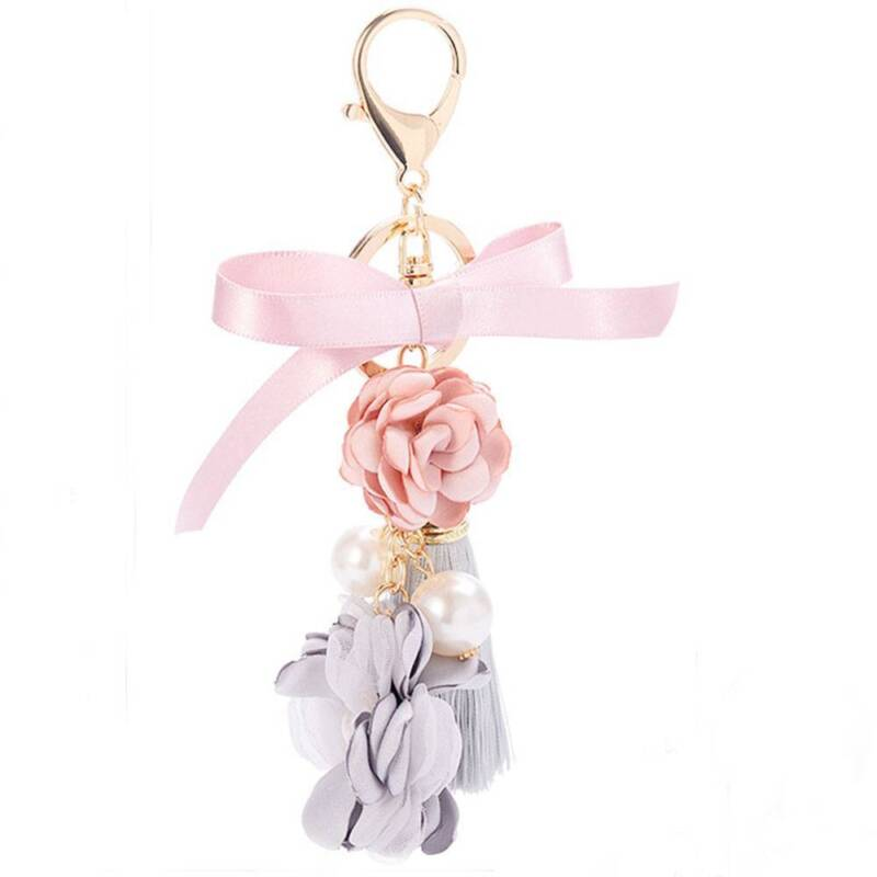 Flowers Rose Jewelry Gifts Charm Bag KeyChain Keyring Tassel Key Chain