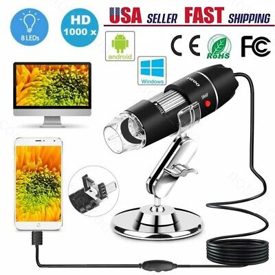 1000x Usb Digital Microscope 3 In 1 Magnifier Endoscope Camera Coin Inspection