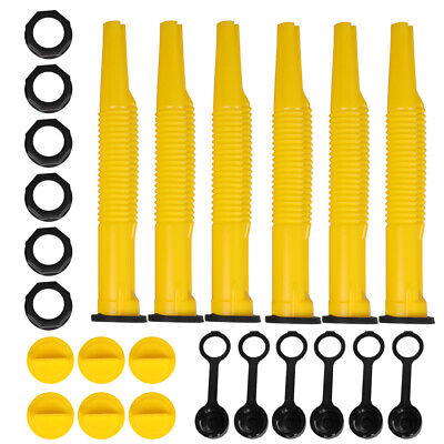 2 Sets 6 Pack Yellow Replacement Gas Can Spout Parts Vent Cap Gasket Stopper