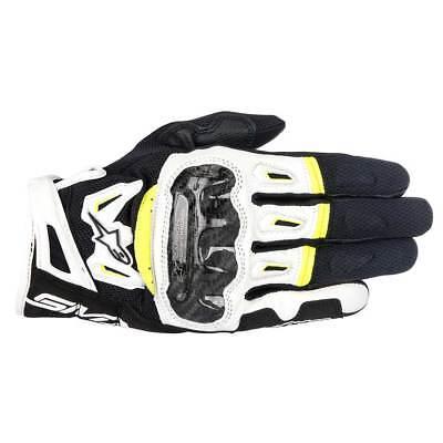 Alpinestars SMX-2 Air Carbon V2 Leather Gloves Black / White / Fluo Yellow