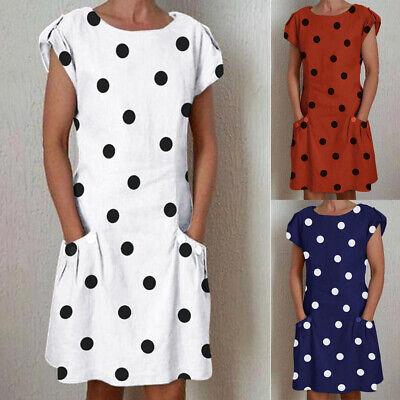 Damen Mode Punkte Taschen Sommerkleid Kurzarm Minikleid Knielang
