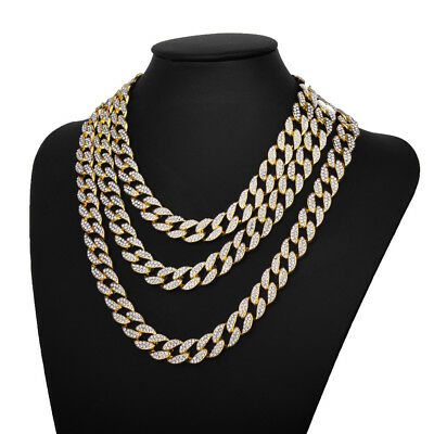 18K Men Hip Hop Necklace Cuban Miami Chain Gold Choker Plated Link 15MM 8