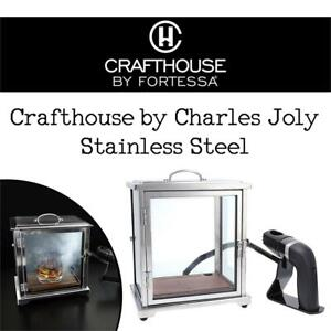 NEW Crafthouse by Charles Joly Stainless Steel and Glass Smoking Box with Handheld Smoker Condition: Used