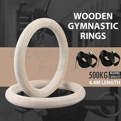 Wooden Gymnastic Olympic Rings Crossfit Gym Fitness Training Exercise Pull Up UK
