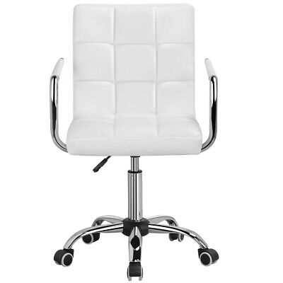 Office Chair Height Adjustable Mid Back Pu Leather 360 Swivel Chair Rollers