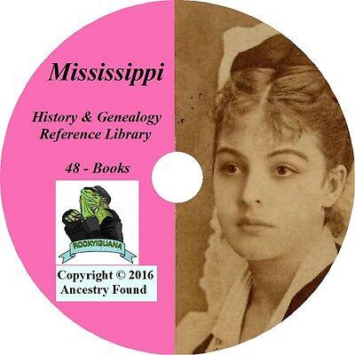MISSISSIPPI - History & Genealogy - 48 Books on DVD, Ancestors, County, CD, MS