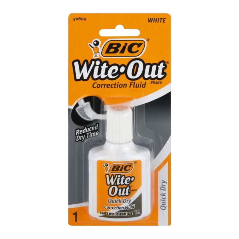 NEW BIC White Out Quick Dry Foam Brush Correction Fluid 0.7 Fl Oz / 20ml