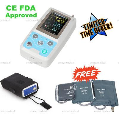 Abpm50 24h Arm Ambulatory Blood Pressure Monitor Nibp Machine 3 Cuffs Software
